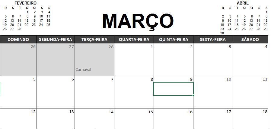 Calendario Dinamico Excel.Fera No Excel Calendario 2017 Em Excel Para Download