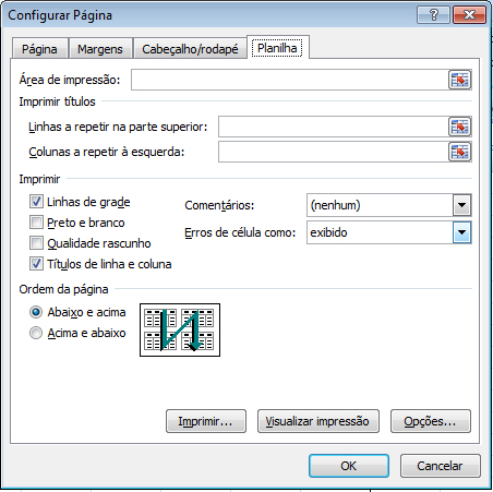 Configurar pagina - planilha
