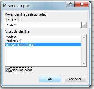 Copiar ou mover planilha