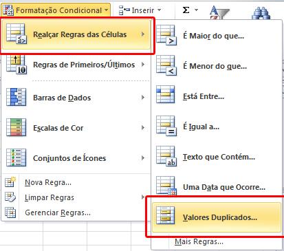 Formatação condicional - Valores Duplicados