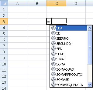 Funções do Excel na lista