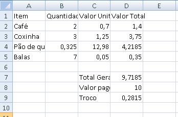 Planilha com fórmulas - parte 2