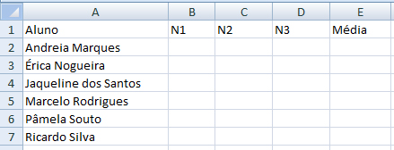 Planilha modelo cálculo pesos