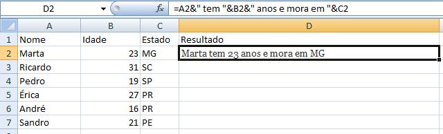 Primeira linha preenchida com dados juntos