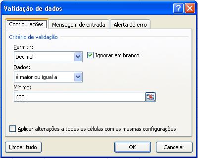 Tela de configuração da validação - Decimal