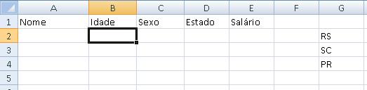 Validação de Dados no Excel - tela inicial