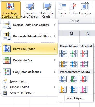barras de dados - Formatação Condicional Excel