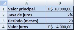 cálculo de juros resolvido