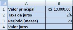 cálculo de juros simples no Excel