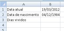 calculando data de nascimento no Excel - parte 1