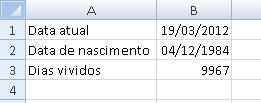 calculando data de nascimento no Excel - parte 2