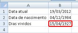 calculando data de nascimento no Excel - parte 3