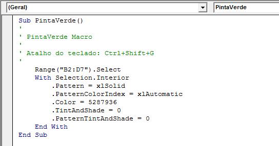 código da macro