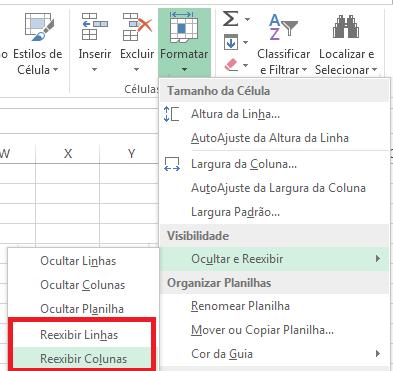 comanda reexibir linhas ou colunas