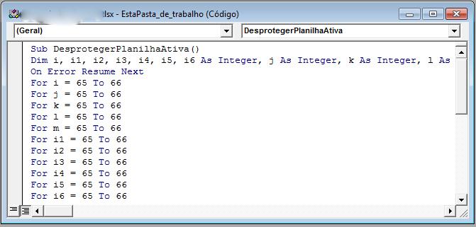 copiando código da macro