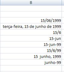 formatos de datas