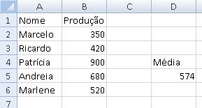 função SE com média (pronta)