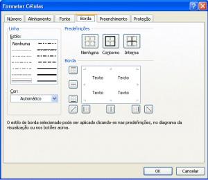 janela de configuração das bordas