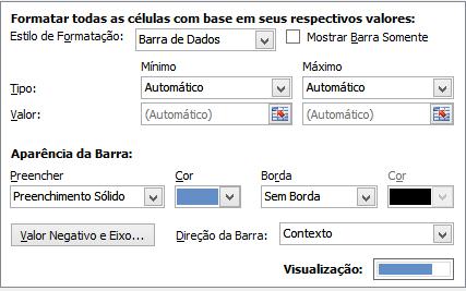 janela personalização Barra de Dados Excel