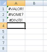 mensagens de erro do Excel