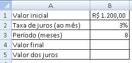 modelo para cálculo de juros compostos