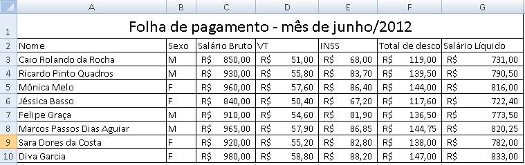 planilha folha de pagamento Excel pronta