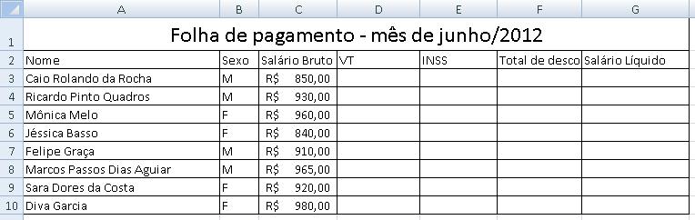 planilha folha de pagamento Excel