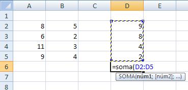 seleção parcial da função SOMA