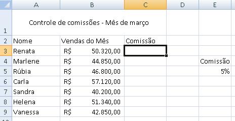tela de comissão de vendas - parte 1