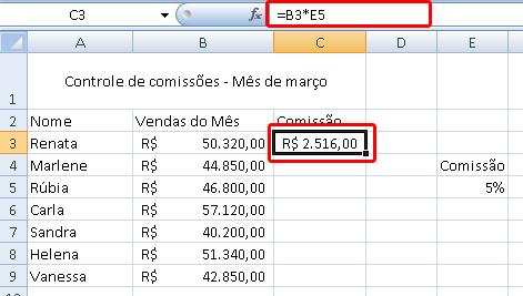 tela de comissão de vendas - parte 2