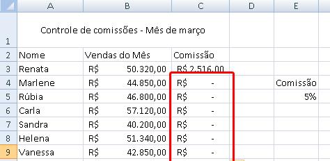 tela de comissão de vendas - parte 3